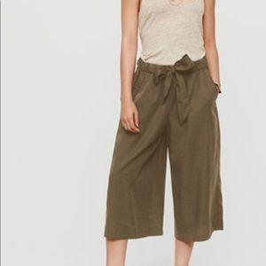 Lou & Grey Tie Culottes Olive Wide Leg XS